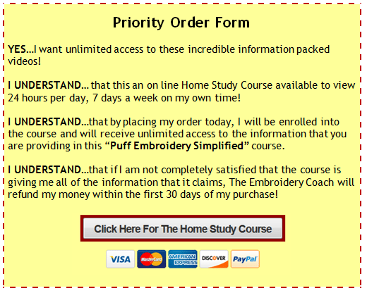 Puff Embroidery Simplified Order Form