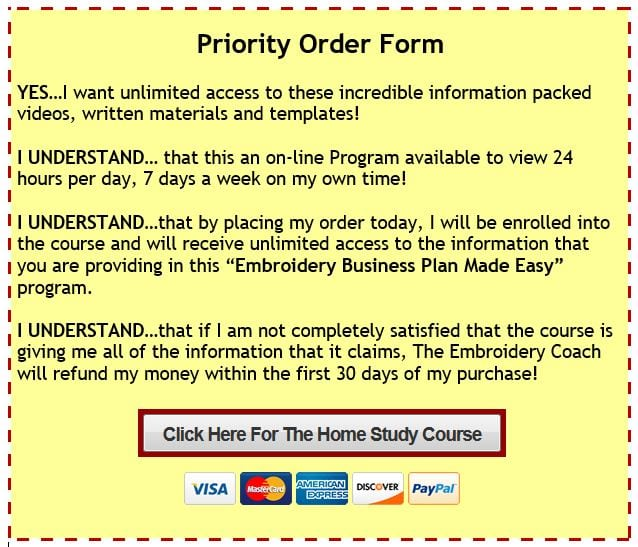 EmbroideryBusiness Plan Made Easy Program