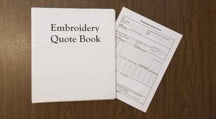 Create An Embroidery Quote Form And Embroidery Quote Book