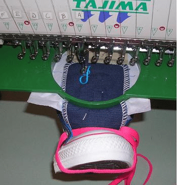 """How To Do Embroidery On The Tongue Of Sneakers or Tennis Shoes Using Your Basic Hoops!"""